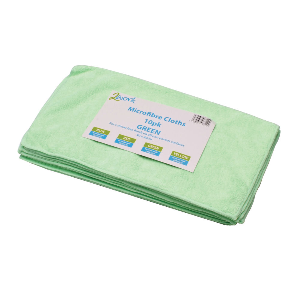 2Work Microfibre Cloth Green (Pack of 10) - 101161