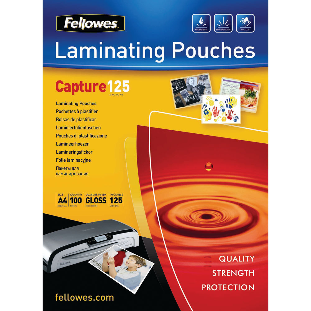 Fellowes A4 Gloss 125 Micron Laminating Pouches, Pack of 100 - 53074