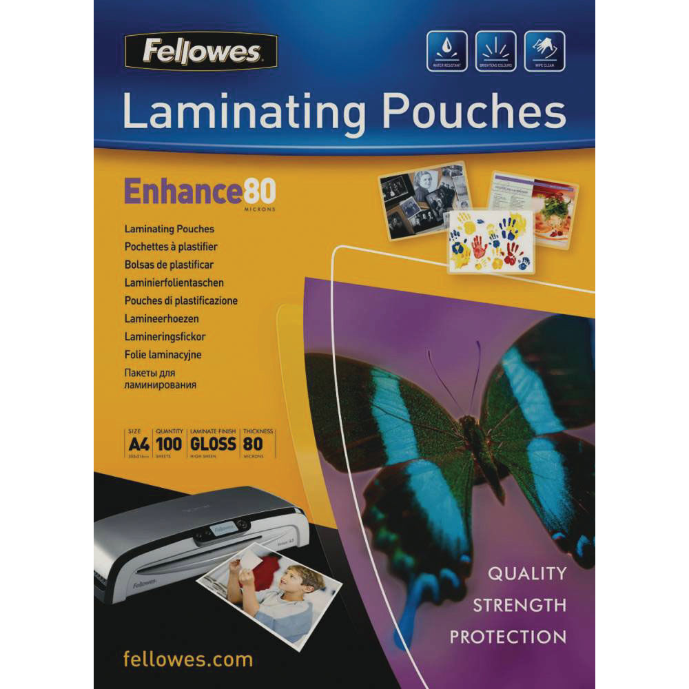 Fellowes A4 Laminating Pouches with Enchanced Gloss, Pack of 100 - 5306101