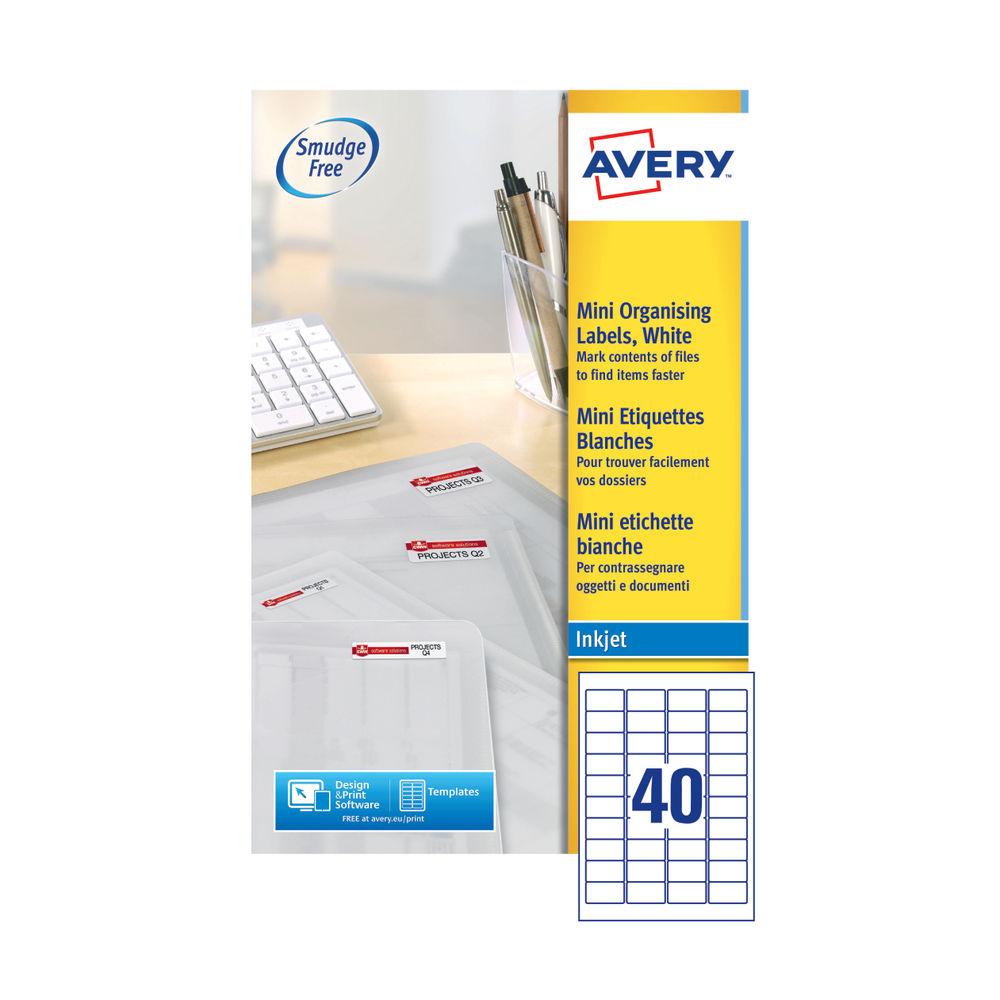 Avery Inkjet Mini Label 45.7x25.4mm 40 Per Sheet (Pk 1000) J8654-25