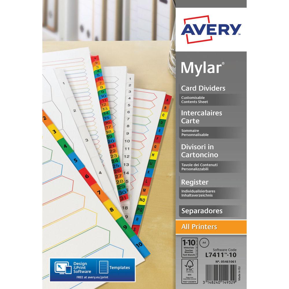 Avery Mylar Numeric Divider 1-10 A4 Bright White 05461061