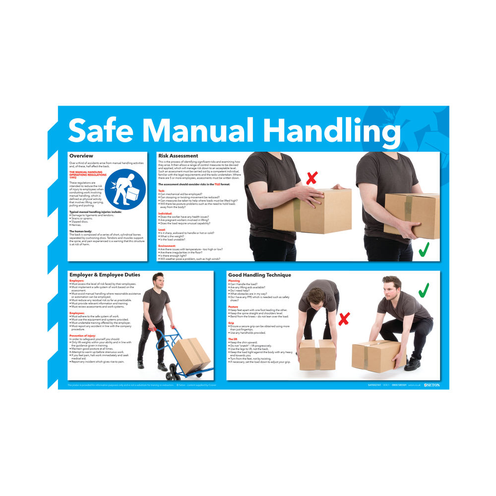 Safe Manual Handling 420 x 594mm Health and Safety Poster - WC245