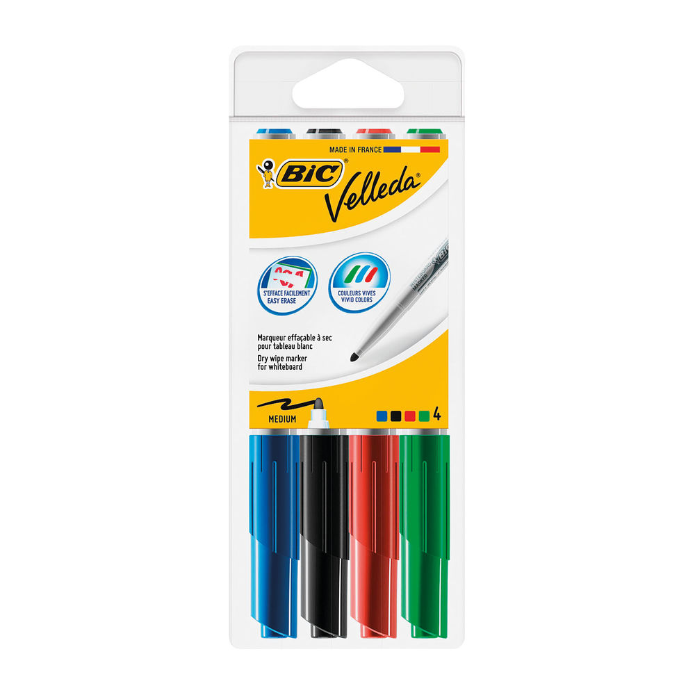 BIC Velleda 1741 Assorted Drywipe Markers, Pack of 4 - 1199001744