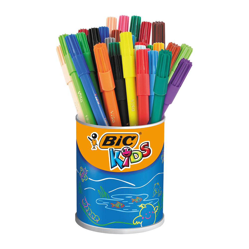 Bic Kids Visa Assorted Colours Felt Tip Pens (Pack of 36) - 829012