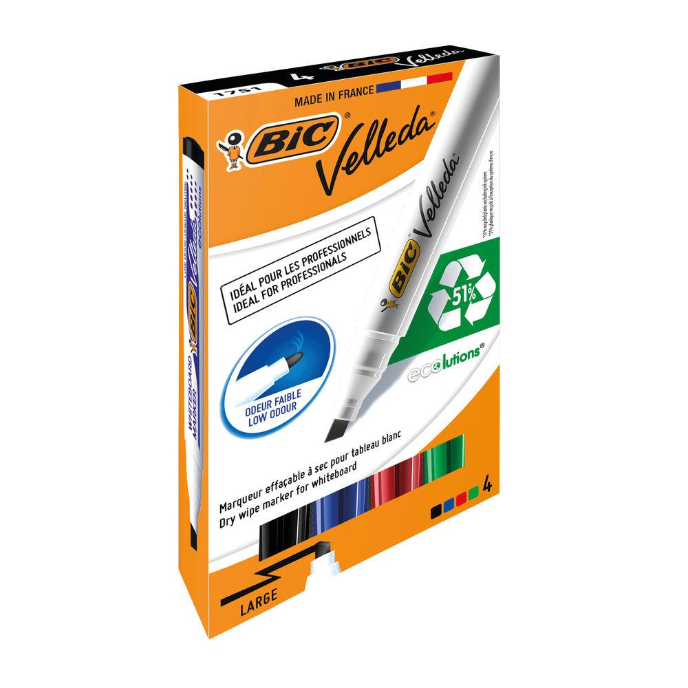 BIC Velleda 1751 Assorted Drywipe Markers, Pack of 4 - 1199001754