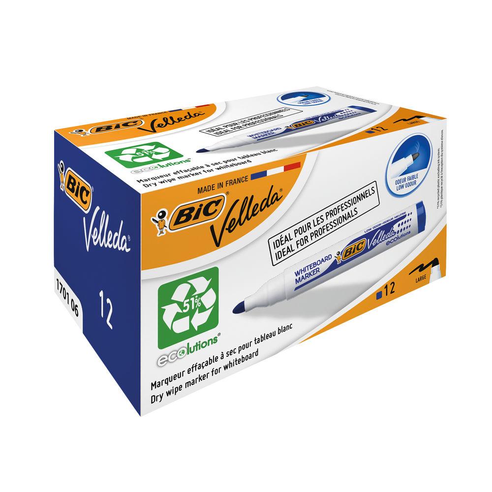 BIC Velleda 1701 Blue Drywipe Markers, Pack of 12 - 1199170106