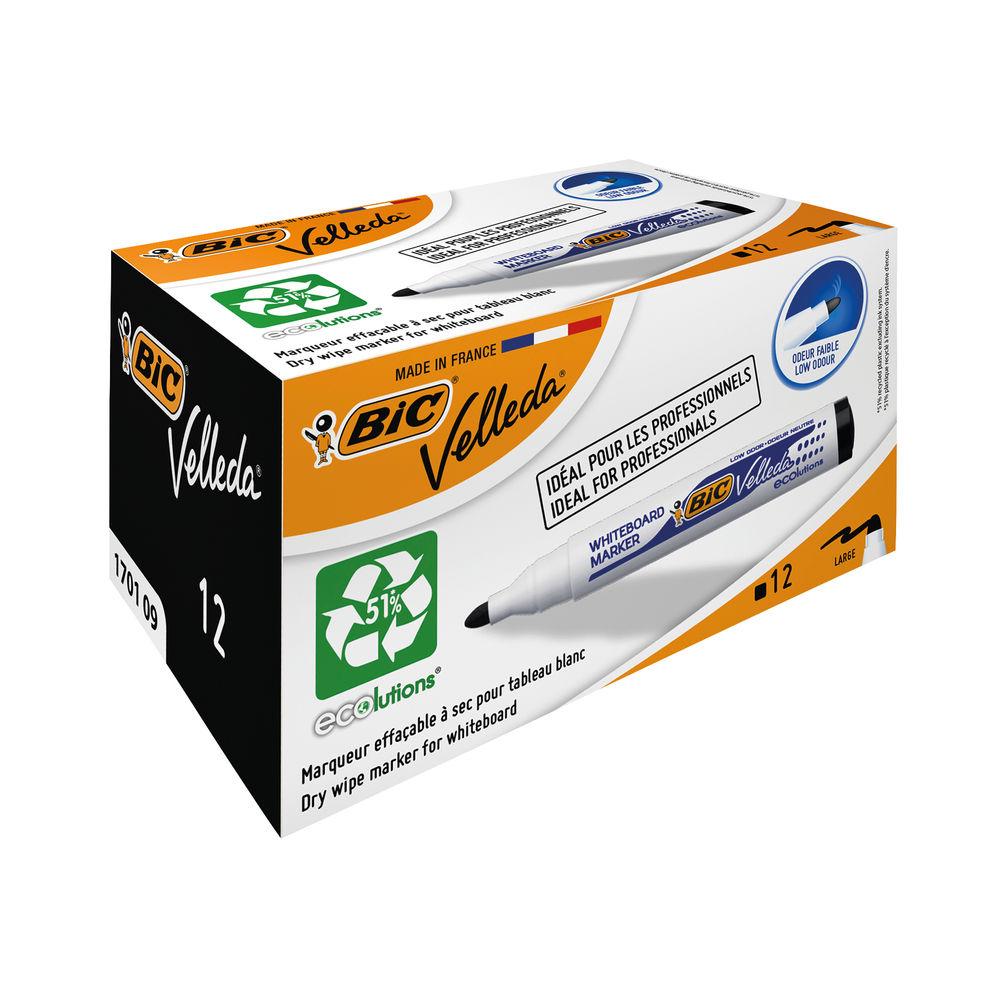 BIC Black Velleda Drywipe Whiteboard Markers, Pack of 12 - 1199170109