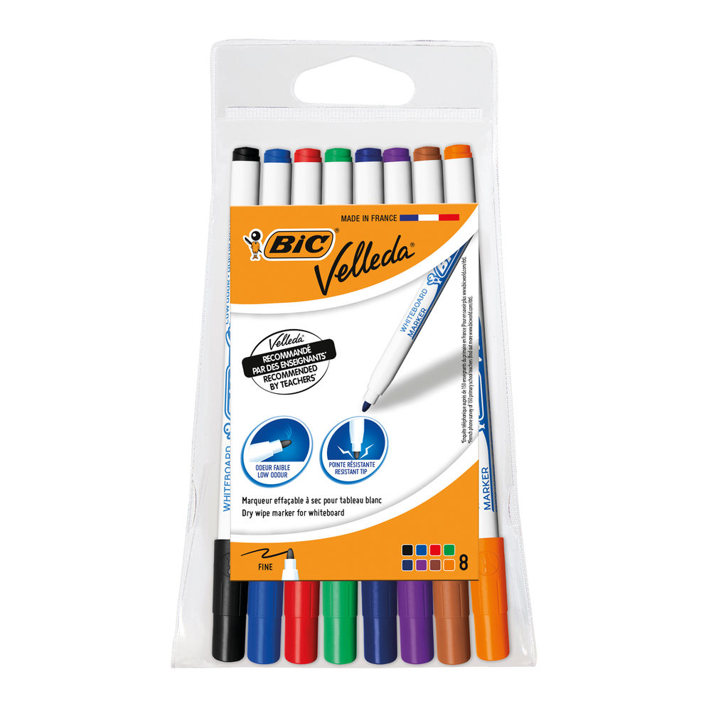 BIC Velleda 1721 Assorted Fine Drywipe Markers, Pack of 8 - 1199005728