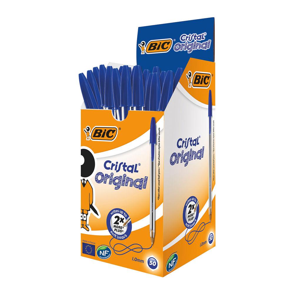 BIC Medium Blue Cristal Transparent Ballpoint Pens, Pack of 50 - 8373601