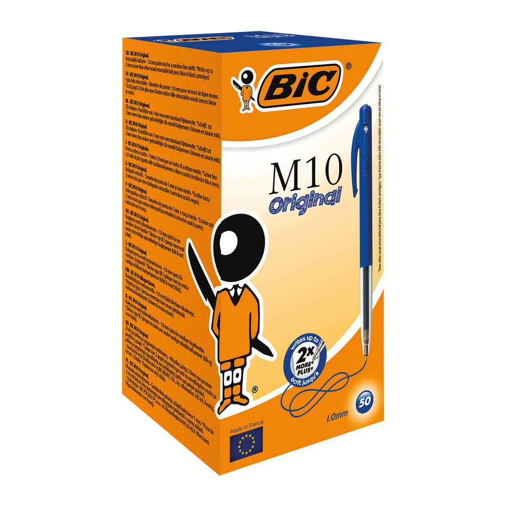 BIC M10 Blue Clic Medium Ballpoint Pens, Pack of 50 - 1199190121