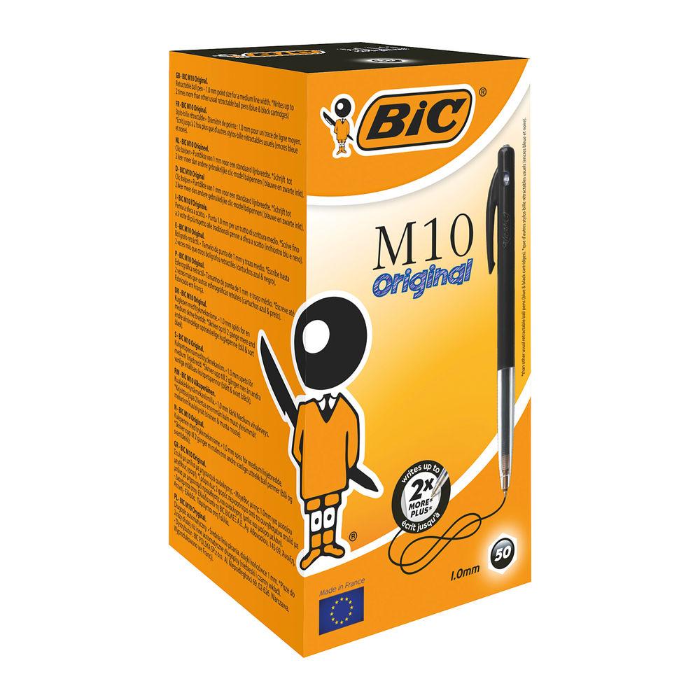 BIC M10 Black Clic Medium Ballpoint Pens, Pack of 50 - 1199190125