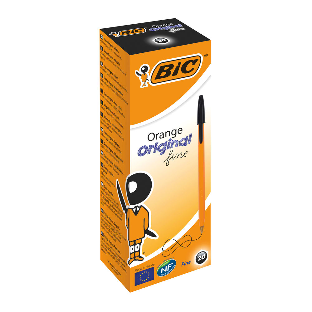 BIC Orange Black Fine Ballpoint Pens, Pack of 20 - 1199110114