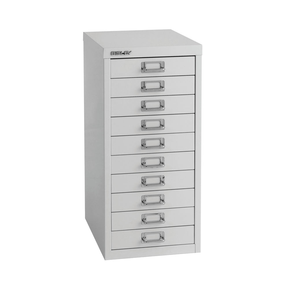 Bisley 590mm A4 Grey 10 Drawer Filing Cabinet - H2910NL-073