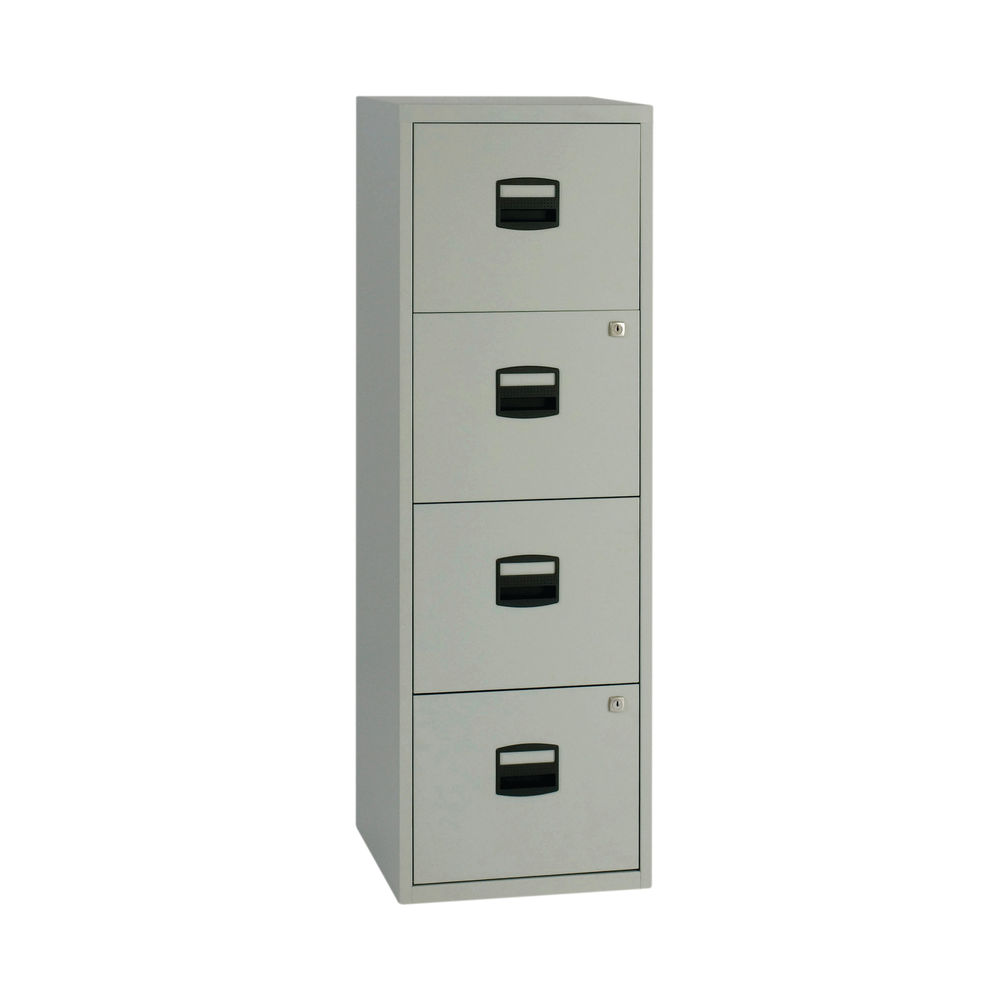 Bisley 1282mm Grey Home 4 Drawer Filing Cabinet - BY37874