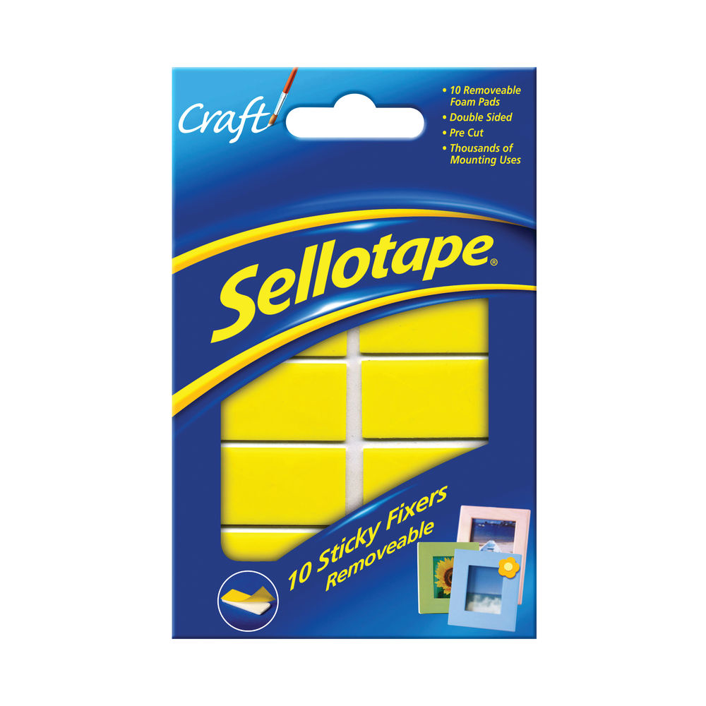 Sellotape Sticky Fixers Removable Pads 20x40mm (Pack of 10) 1445286