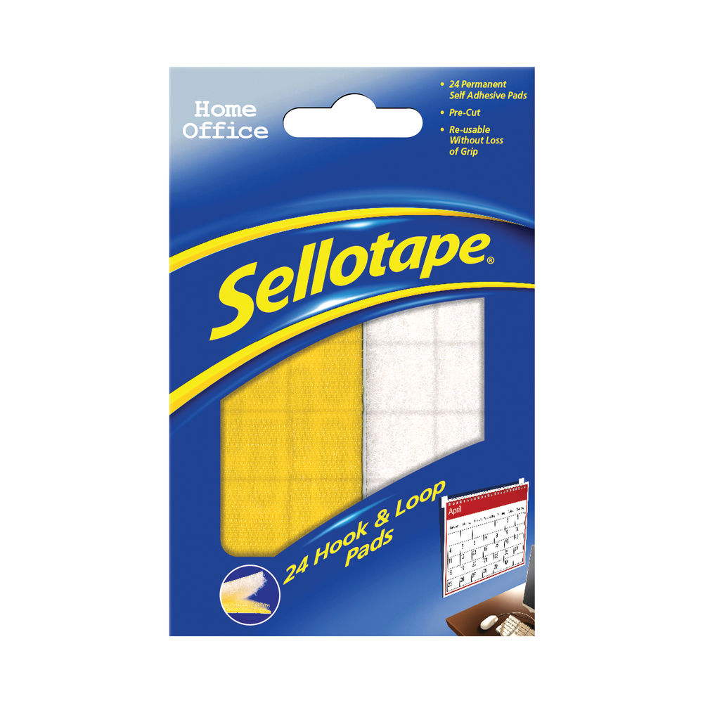 Sellotape Sticky Hook and Loop Pads 20mmx20mm (Pack of 24) SE4542