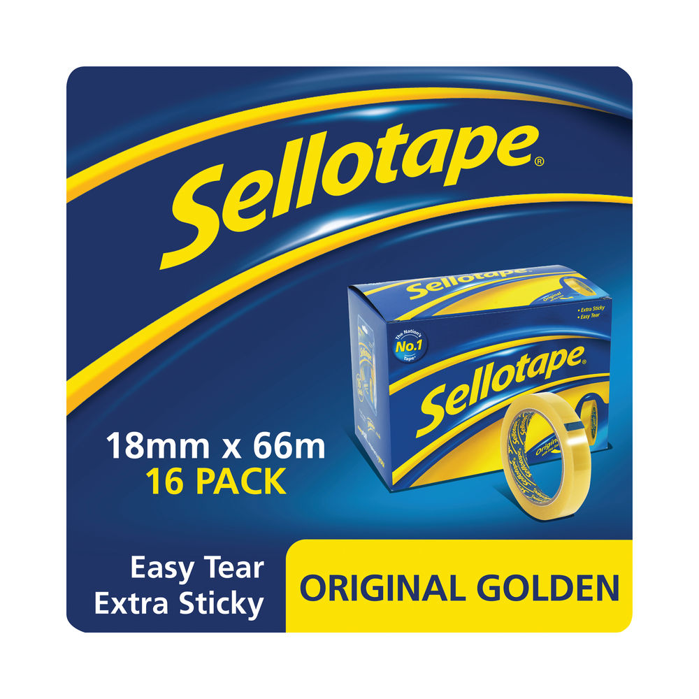 Sellotape Original Golden 18mm x 66m Tapes, Pack of 16 - 1443252