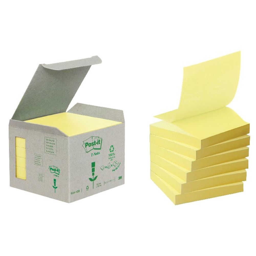 Canary Yellow 76 x 76mm Recycled Post-it Z-Notes Pack of 6 - 3M27405