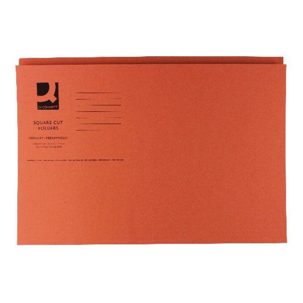 Basics Foolscap/A4– Orange Square Cut Folders 250gsm ( Pack of 100) KF01188