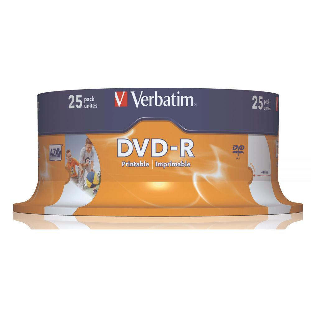 Verbatim 4.7GB 16x Printable DVD-R Spindle, Pack of 25 - 43489