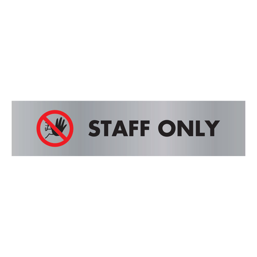 Acrylic Sign Staff Only Aluminium 190x45mm SR22365