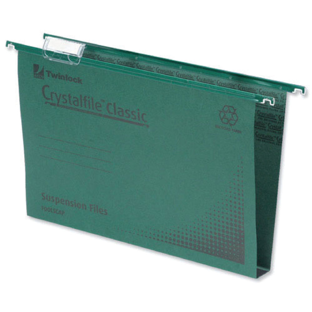 Rexel Crystalfile Classic Foolscap 30mm Green Suspension Files, Pack of 50 - 78041