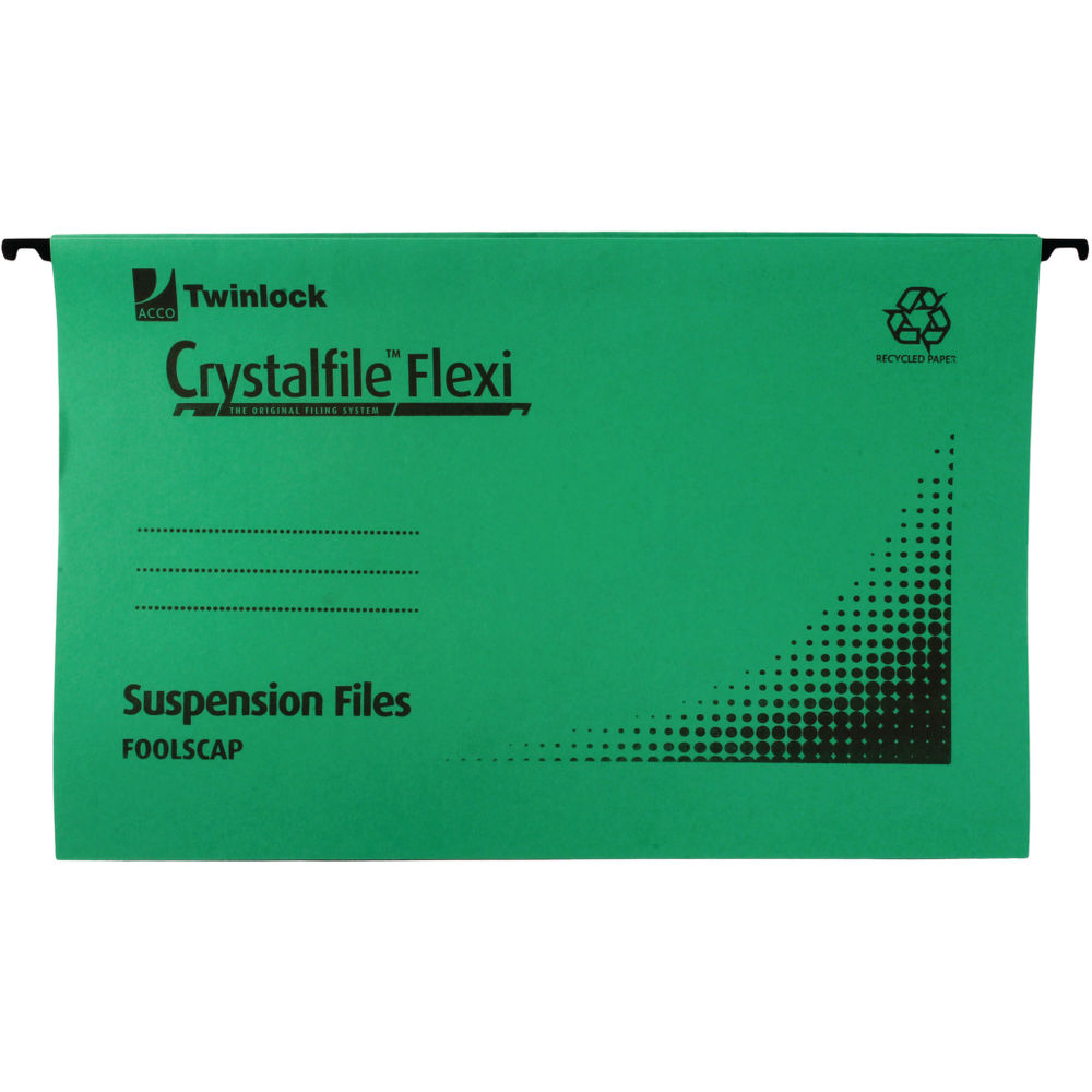 Rexel Crystalfile Flexi Foolscap 15mm Green Suspension Files, Pack of 50 - 3000040