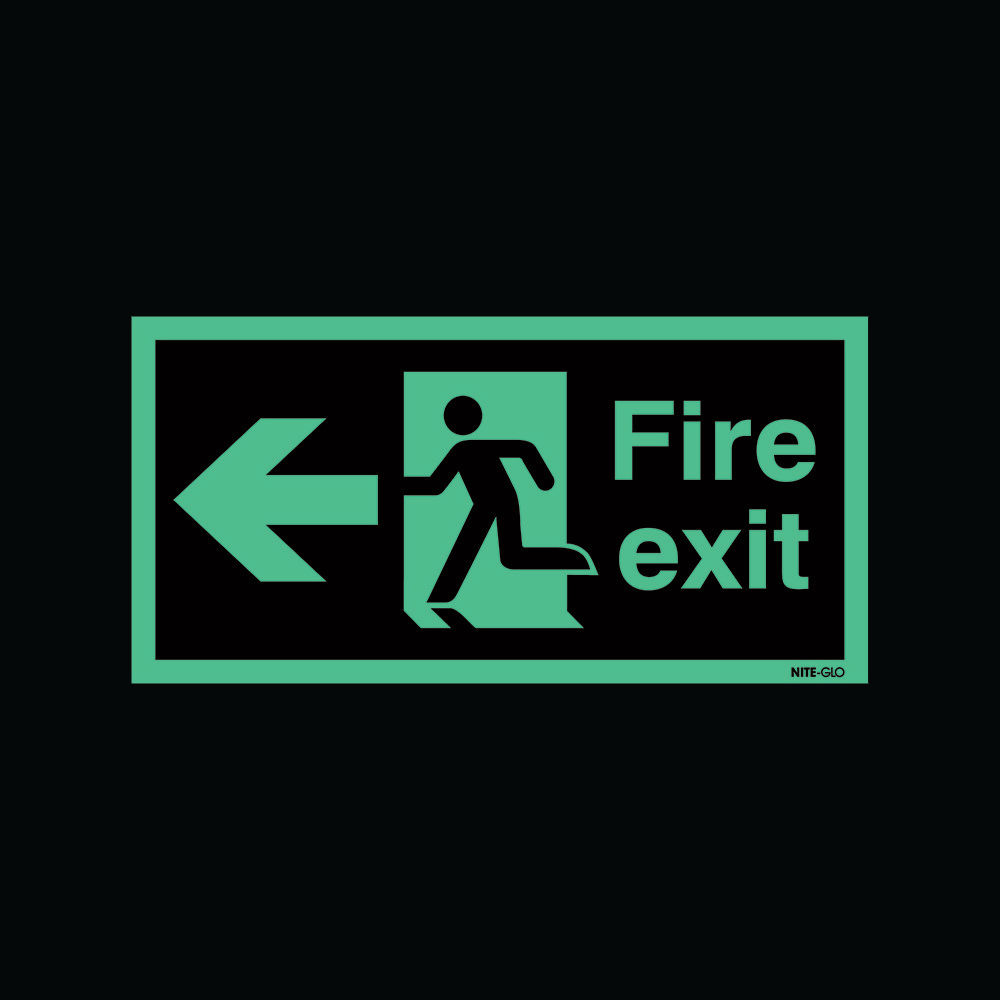 Safety Sign Niteglo Fire Exit Running Man Arrow Left 150 x 450mm - NG27A/S
