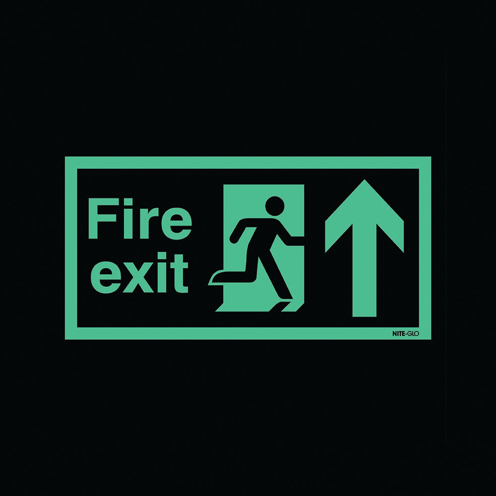 Safety Sign Niteglo Fire Exit Running Man Arrow Up 150 x 450mm - FR03527L
