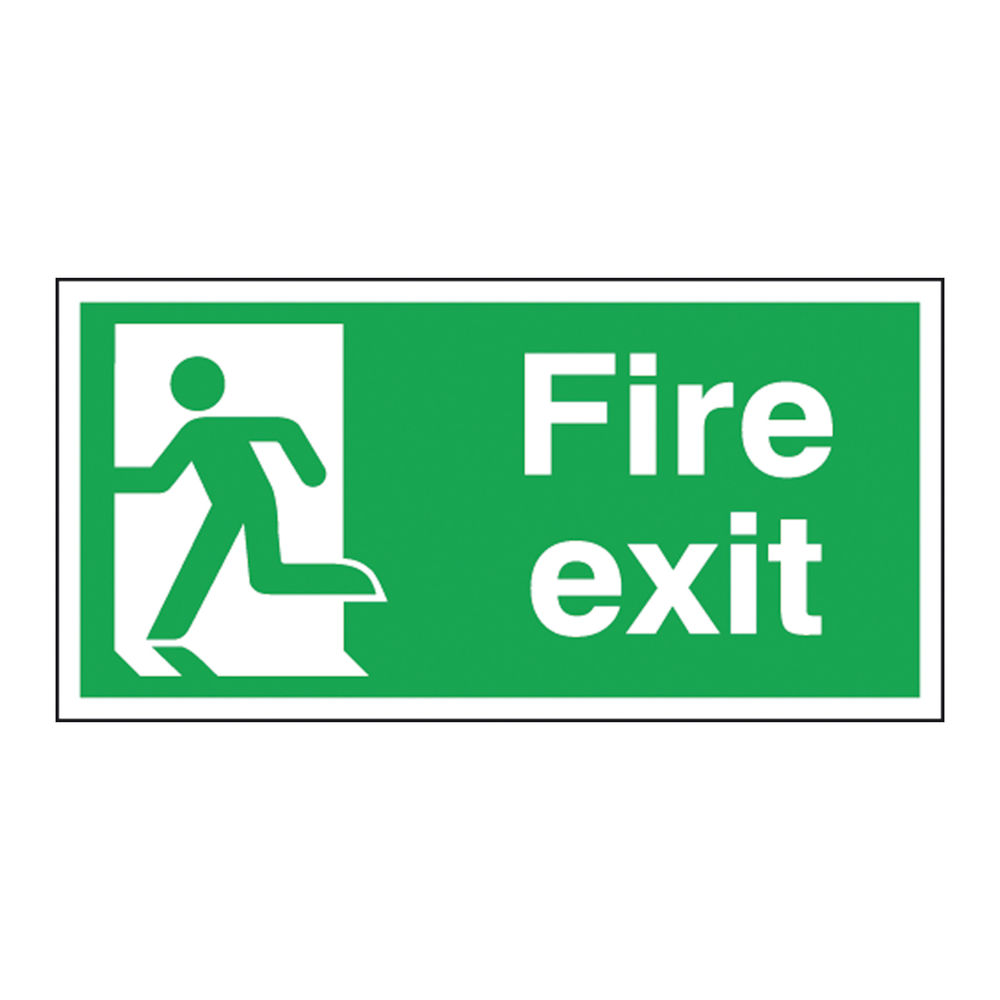 Fire Exit Running Man Left 150 x 300mm Self Adhesive Safety Sign - E96A/S