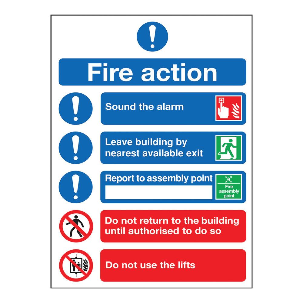 Fire Action Symbols A5 PVC Safety Sign - FR099A5