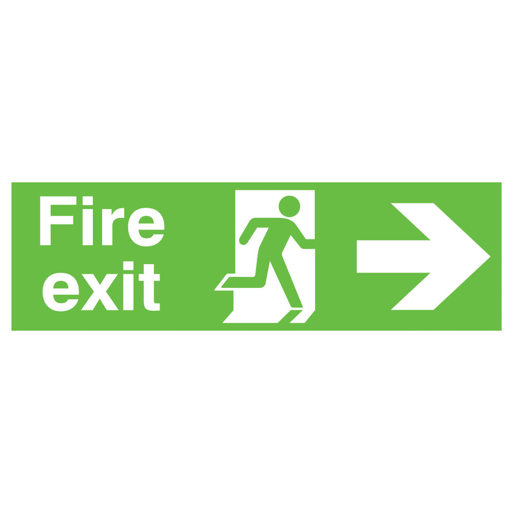 Niteglo Fire Exit Running Man Arrow Right 150 x 450mm PVC Safety Sign - FX04411M