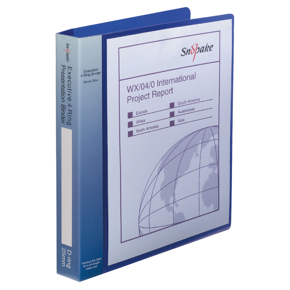 Snopake Executive Presentation A4 Electra Blue 4 D-Ring Binder, 25mm - 13387