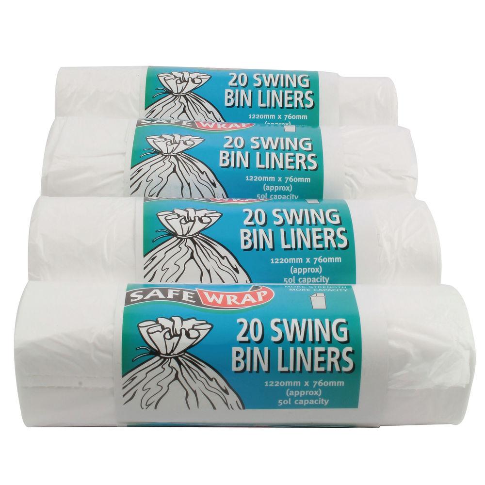 Safewrap White 50 Litre Standard Swing Bin Liners, Pack of 80 - 0441