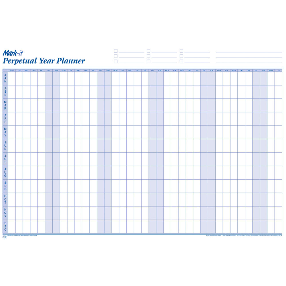 Mark-It Perpetual Year Wall Planner - PYP