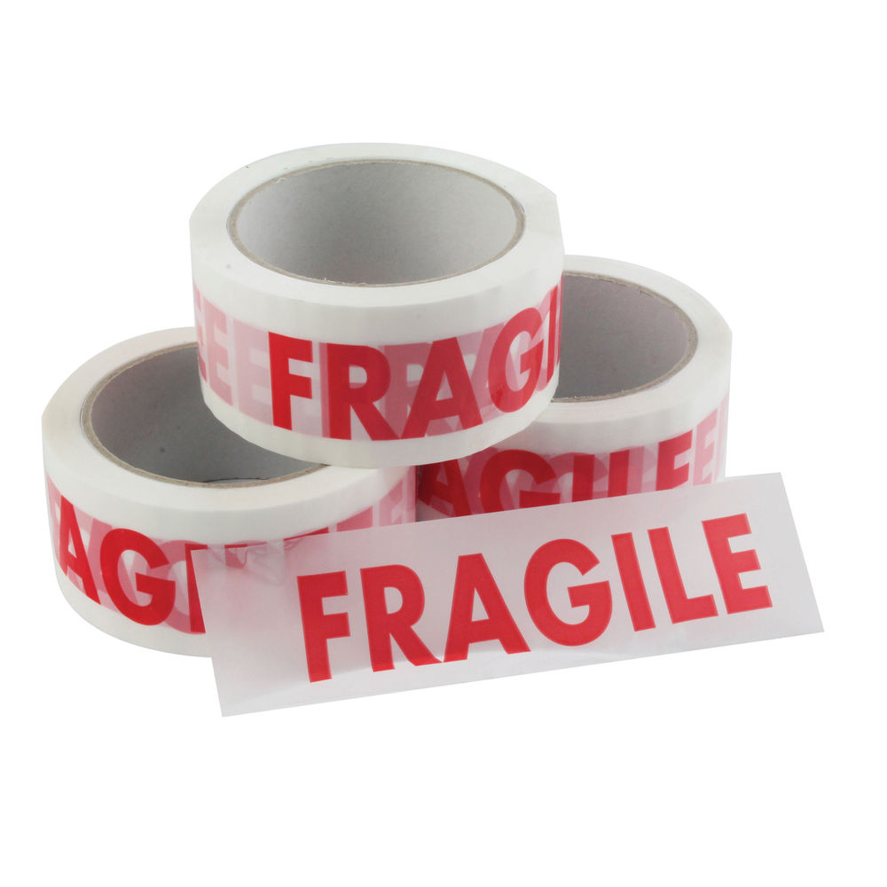 White and Red Fragile Vinyl Tape, 50mm x 66m - Pack of 6 - 97566014