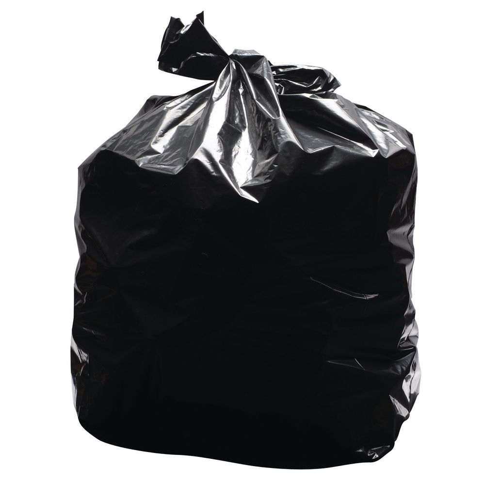 2Work Light Duty Refuse Sacks Black, Pack of 200 - KF73375