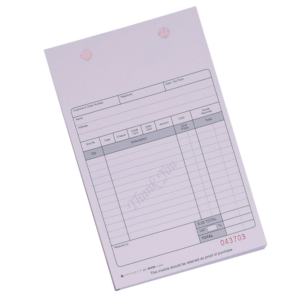 Q-Connect White Register Receipt Forms, Pack of 100 - KF32108