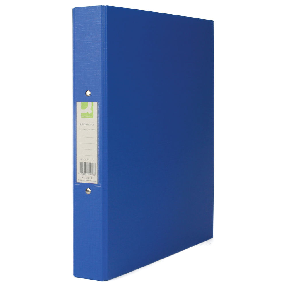Q-Connect Blue A4 2 Ring Polypropylene Ring Binders, Pack of 10 - 9400066