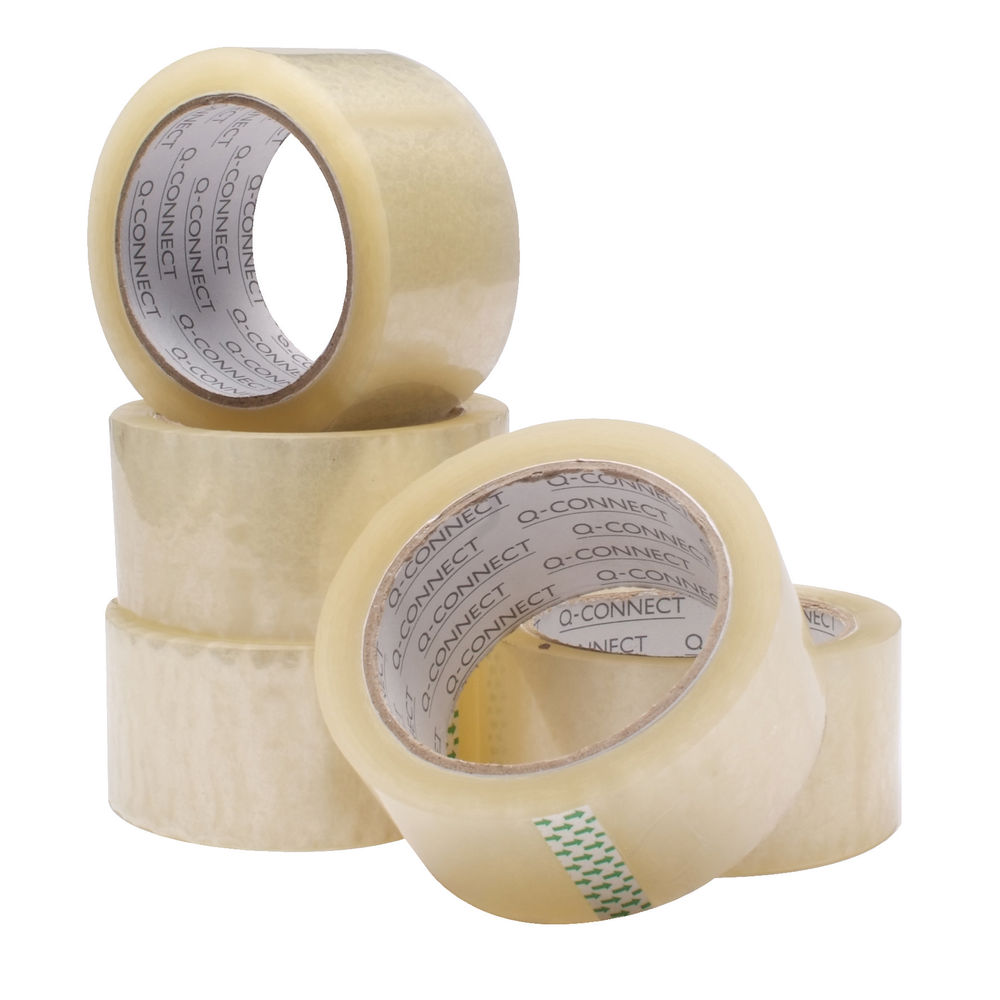 Q-Connect Clear Packing Tape, 50mm x 60m, Pack of 6 - KF01791