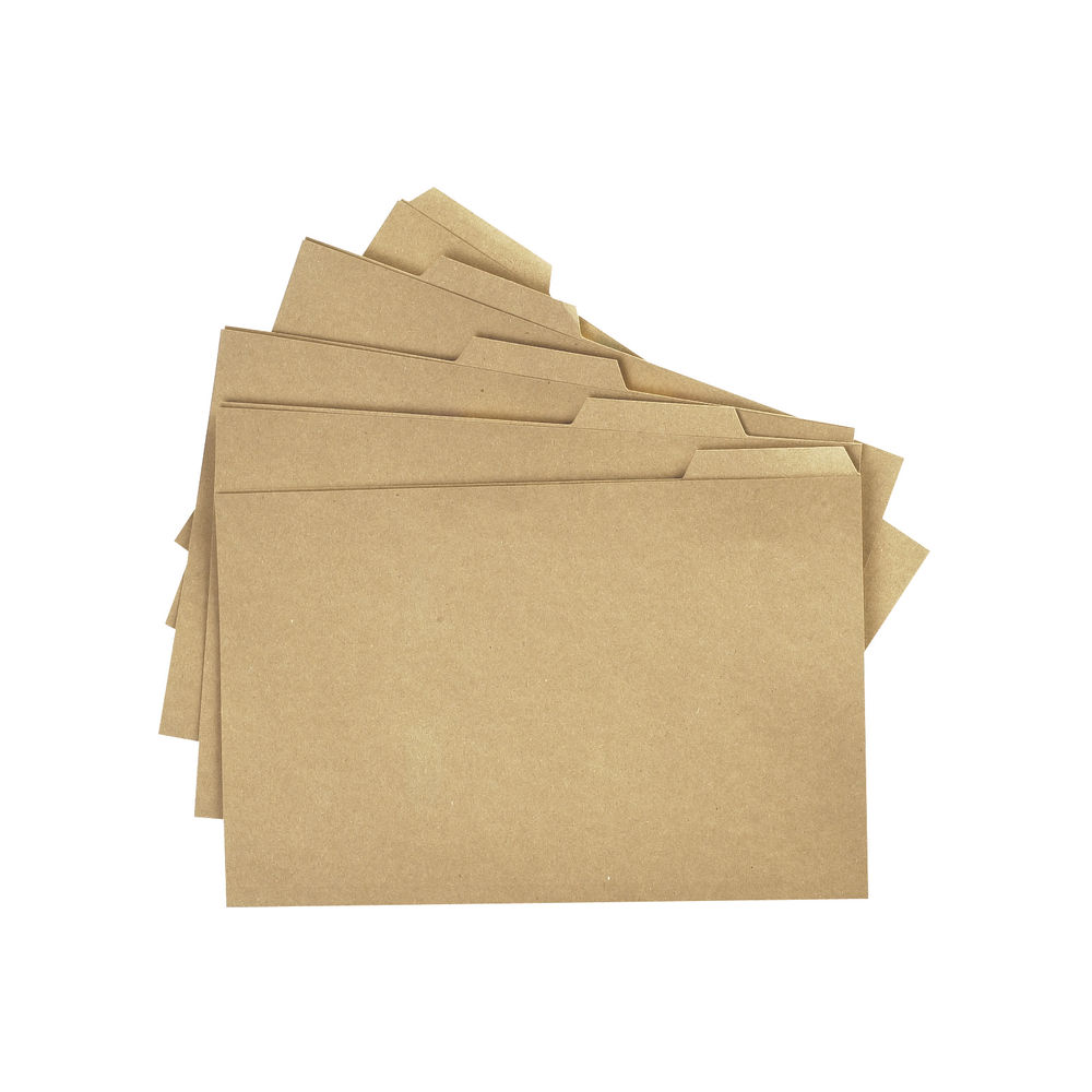 Q-Connect Buff Tabbed Folders 170gsm, Pack of 100 - KF01578