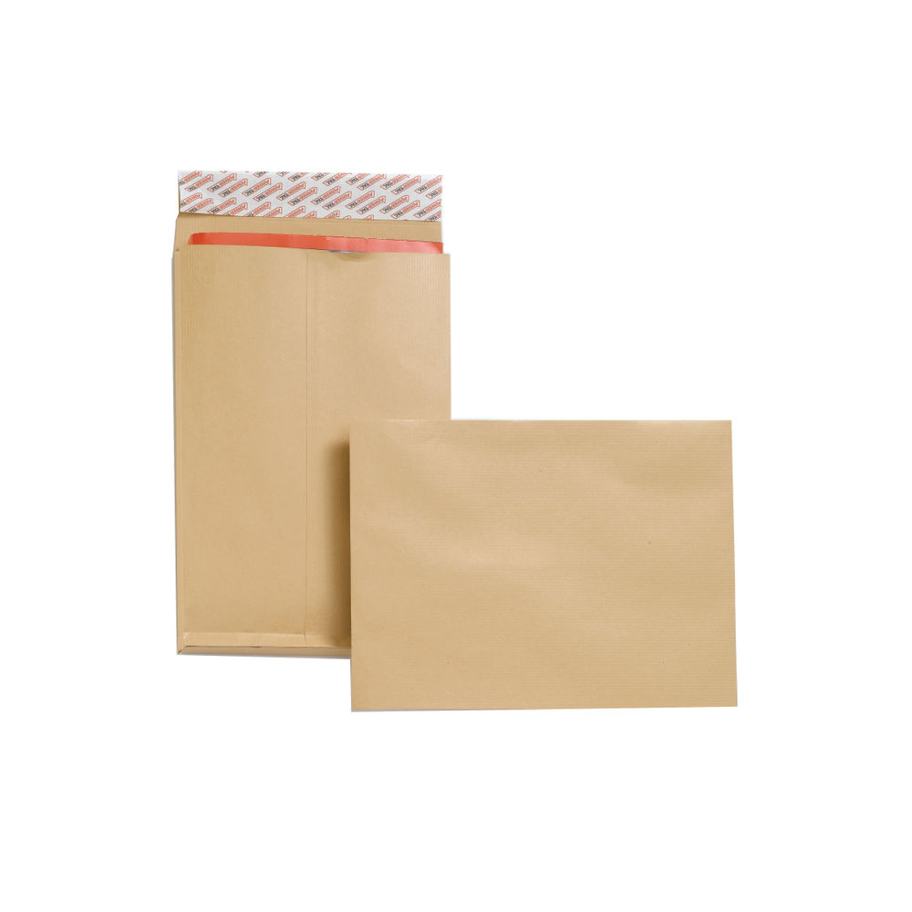 New Guardian Manilla C4 Gusset Peel and Seal Envelopes 130gsm, Pack of 25 - JDF2