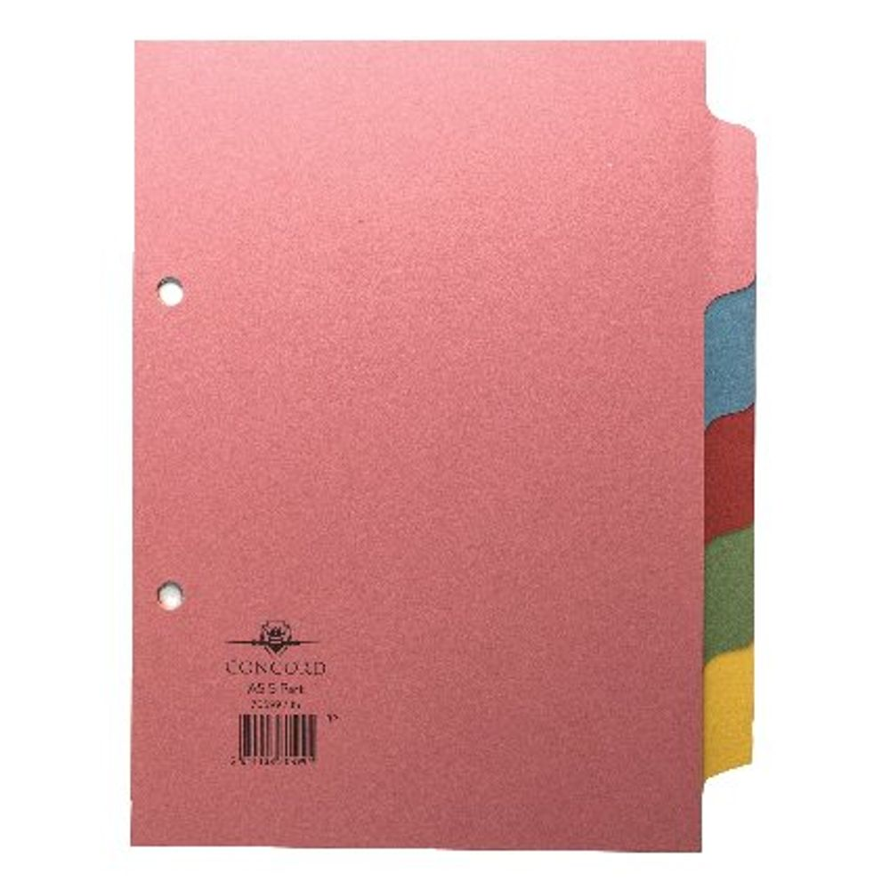 Concord A5 Plain Tabs, Assorted Colours 5 Part Index Dividers - 70599/J5