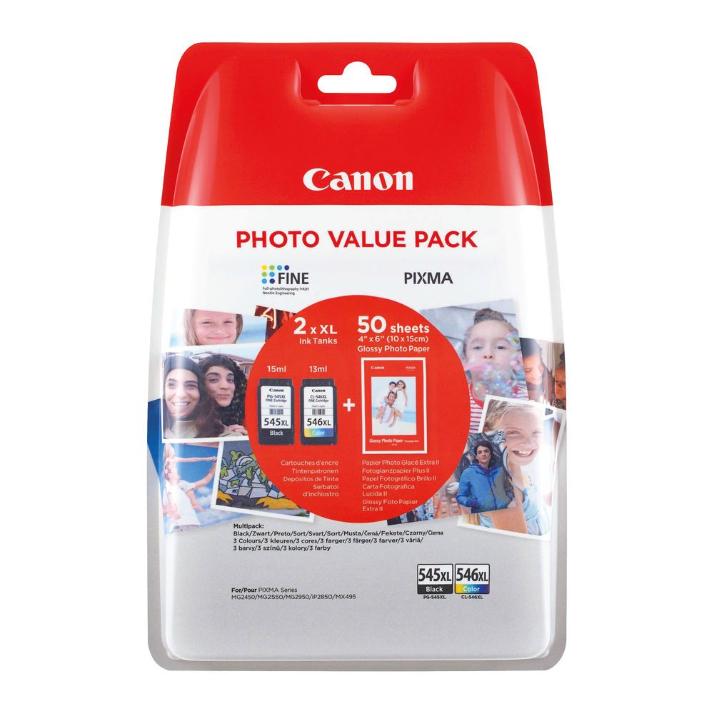 Canon PG-545XL/CL-546XL Inkjet Cartridges (Pack of 2) 8286B006