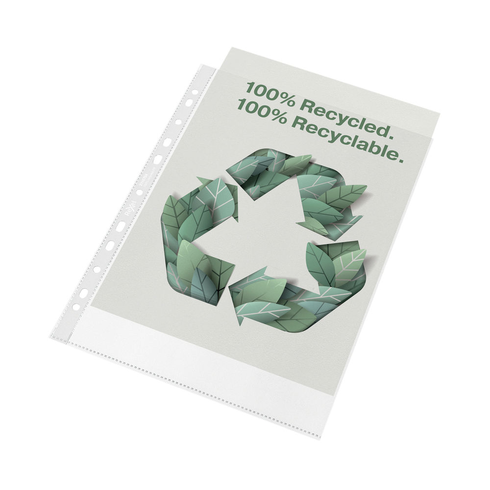 Rexel Folder Recycled PP 100 micron A4 White (Pack of 100) 2115704