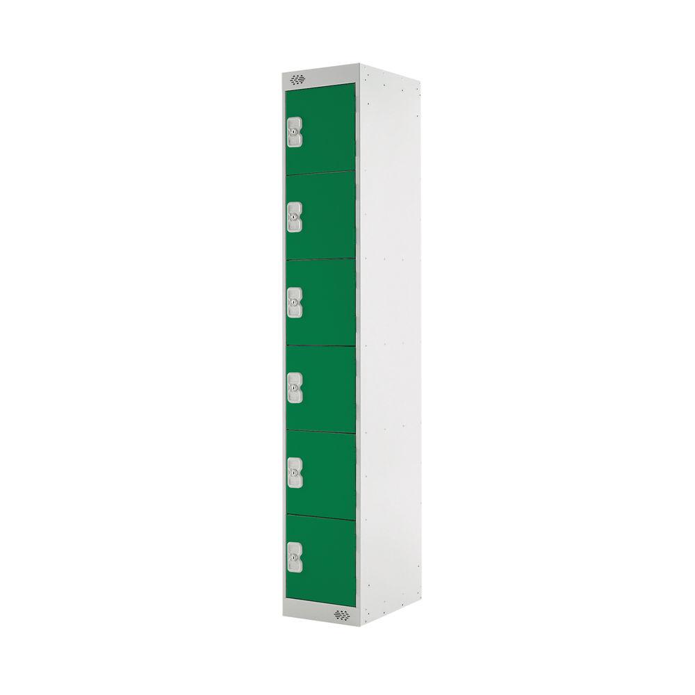 Six Compartment D450mm Green Locker - MC00070