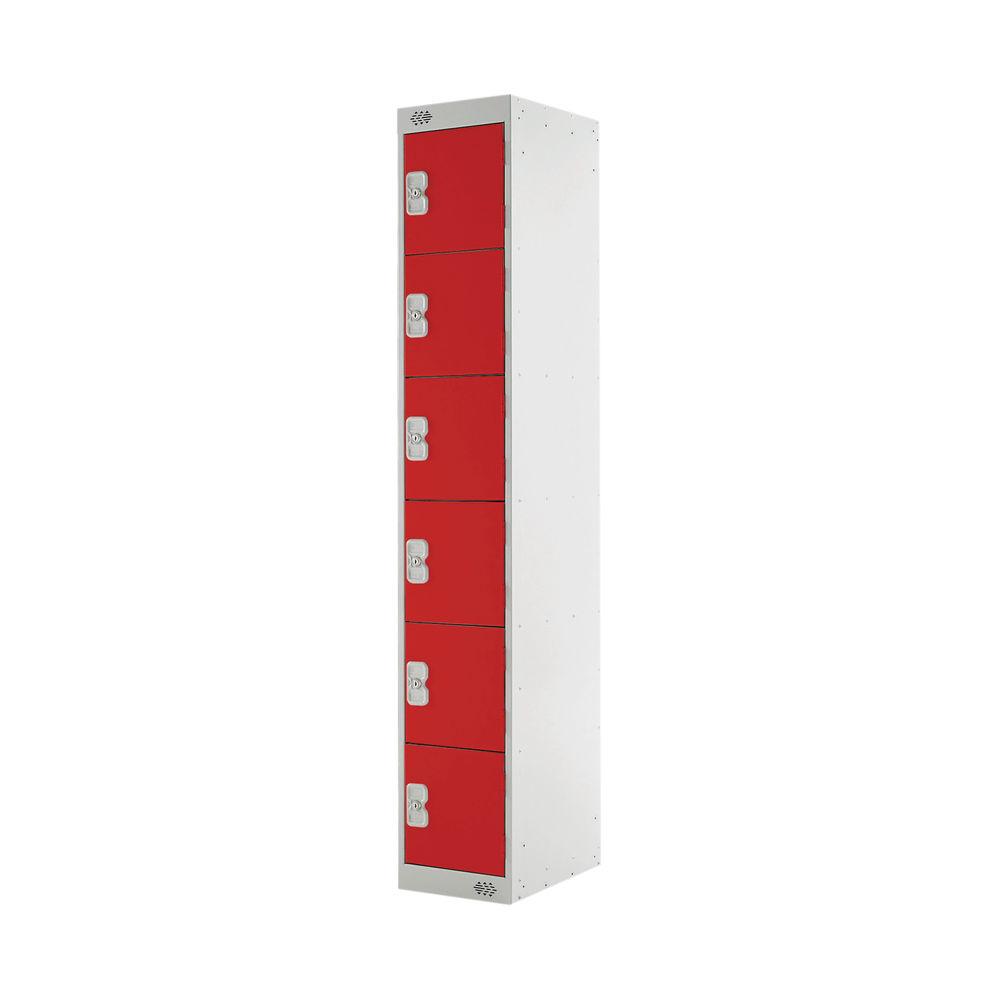 Six Compartment D450mm Red Locker - MC00071