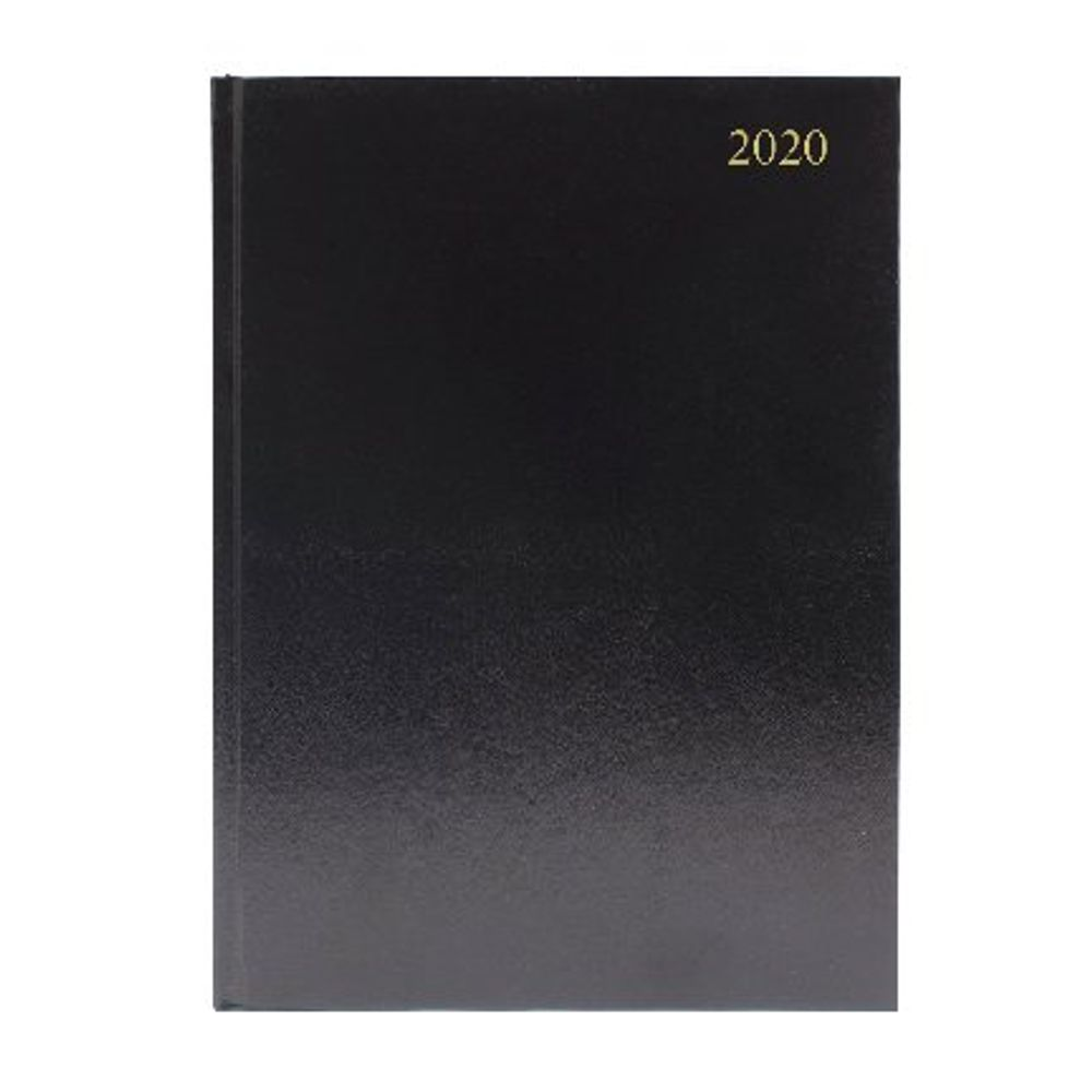 Desk Diary A4 Day Per Page 2020 Black (Reference calendar on each page) KFA41BK2