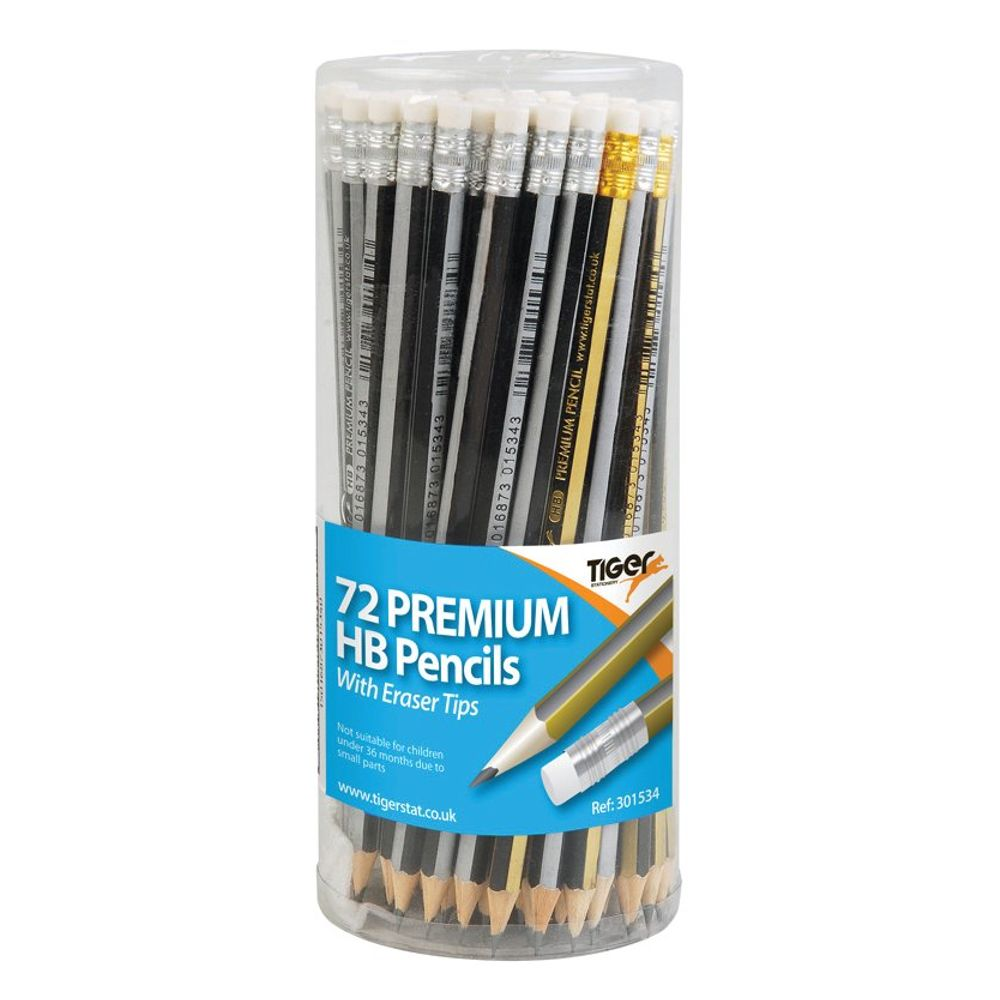 Tiger Assorted HB Eraser Tip Pencils Pot, Pack of 72 - 301534