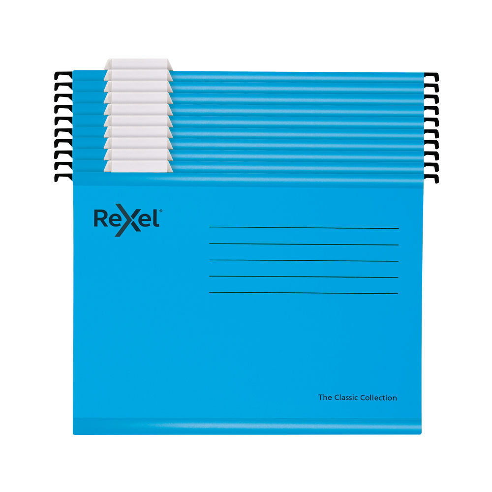 Rexel Blue Foolscap Classic Suspension Files, Pack of 10 - 2115594